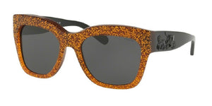 7pm view of Coach Sunglasses - L1649 HC8213 547187 56 AMBER BROWN SADDLE GLITTER DARK GREY SOLID Women's Square Full Rim
