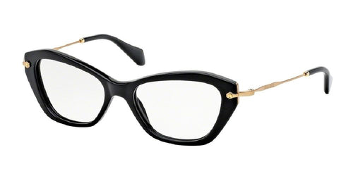7pm view of Miu Miu Eyeglasses - SPECIAL PROJECT CAT EYE MU 04LV 1AB1O1 52 BLACK CLEAR DEMO LENS Women's Full Rim Butterfly