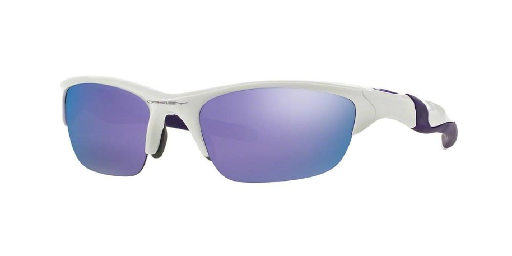 7pm view of Oakley Sunglasses - HALF JACKET 2.0 OO9144 914408 62 MIRROR PEARL WHITE VIOLET IRIDIUM PURPLE Men's Rectangle Semi Rim