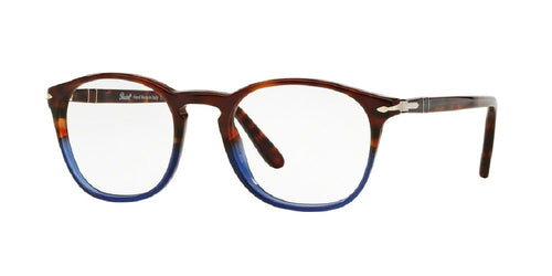 7pm view of Persol Eyeglasses - GALLERIA PO3007V 1022 48 TERRA E OCEANO BLUE BROWN CLEAR DEMO LENS Men's Square Full Rim