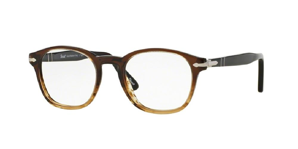 7pm view of Persol Eyeglasses - OFFICINA PO3122V 1026 48 STRIPED BROWN CLEAR DEMO LENS Men's Round Full Rim