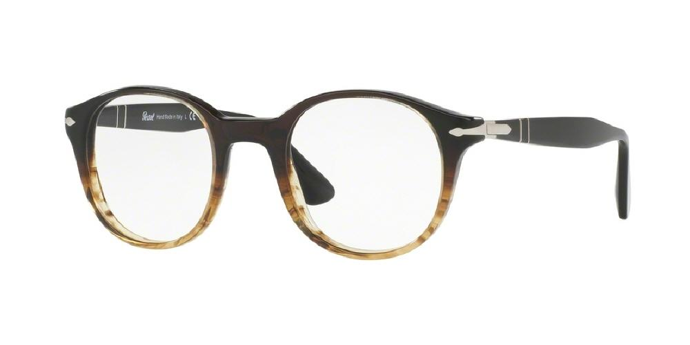 7pm view of Persol Eyeglasses - OFFICINA PO3144V 1026 47 STRIPED BROWN CLEAR DEMO LENS Men's Round Full Rim