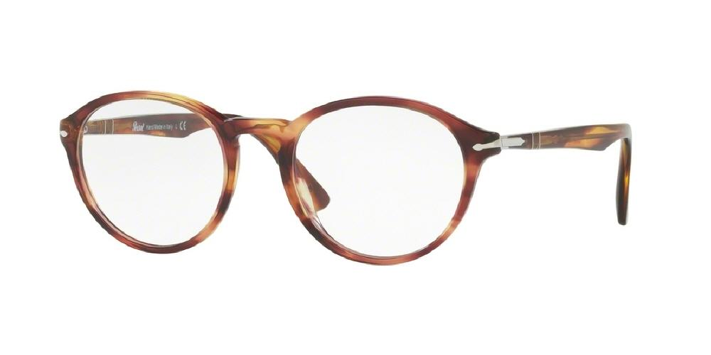 7pm view of Persol Eyeglasses - GALLERIA PO3162V 1055 50 BROWN VIOLET PURPLE HAVANA TORTOISE CLEAR DEMO LENS Men's Round Full Rim