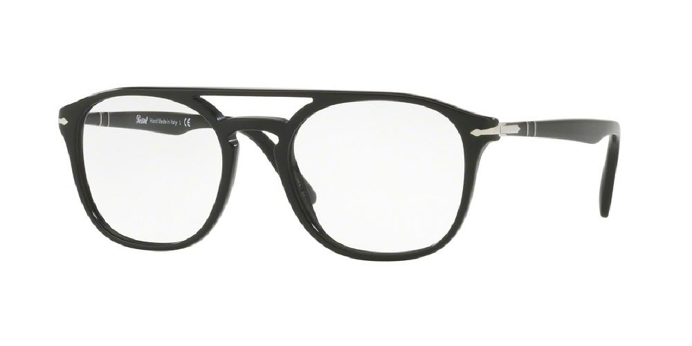 7pm view of Persol Eyeglasses - GALLERIA PO3175V 9014 52 BLACK CLEAR DEMO LENS Men's Rectangle Full Rim