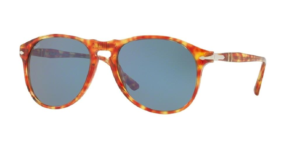 7pm view of Persol Sunglasses - ICONA Aviator PO6649S 106056 55 RED HAVANA TORTOISE LIGHT BLUE Men's Full Rim