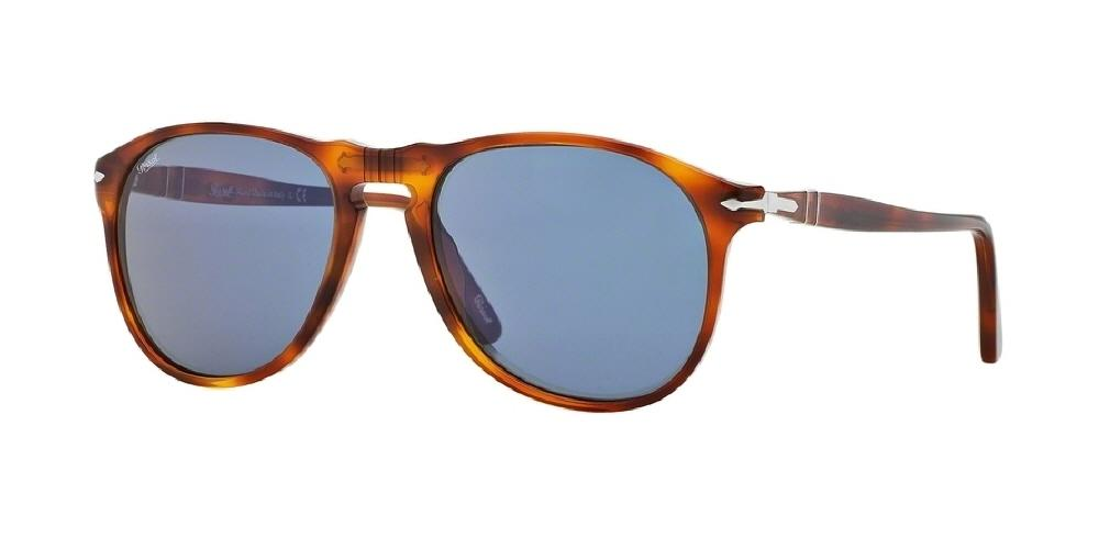 7pm view of Persol Sunglasses - ICONA AVIATOR PO9649S 96/56 55 TERRA DI SIENA BLUE BROWN STRIPED HAVANA TORTOISE Men's Full Rim