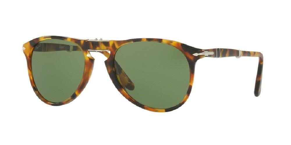 7pm view of Persol Sunglasses - FOLDING AVIATOR ICONA(PO) PILOT PO9714S 10524E 52 MADRETERRA HAVANA GOLD YELLOW BROWN STRIPED TORTOISE GREEN Men's Full Rim