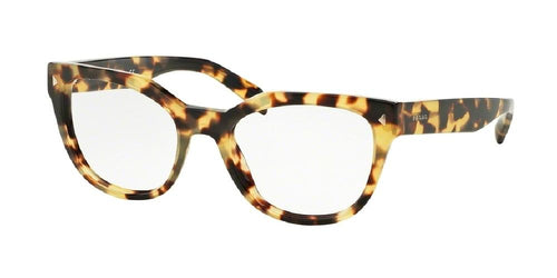 7pm view of Prada Eyeglasses - CONCEPTUAL PR 21SV 7S01O1 51 MEDIUM TORTOISE HAVANA CLEAR DEMO LENS Women's Square Full Rim