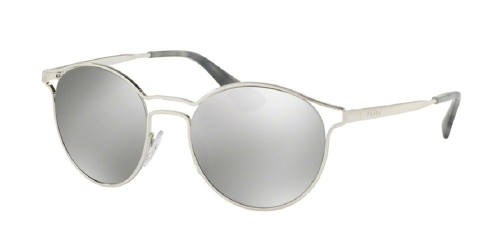 7pm view of Prada Sunglasses - CINEMA CATWALK (PR) PR 62SS 1BC2B0 53 MIRROR LIGHT GREY SILVER Women's Round