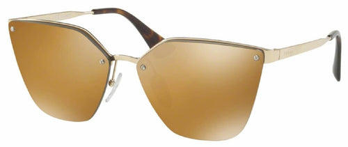7pm view of Prada Sunglasses - FUN ABOUT TOWN CAT EYE PR 68TS ZVN5N2 63 GOLD POLARIZED MIRROR PALE DARK BROWN GLD Women's Rimless Butterfly