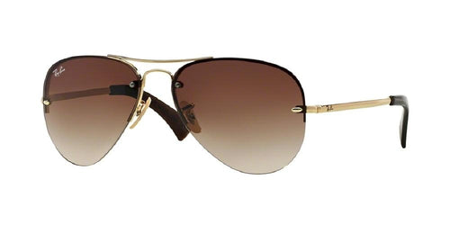 7pm view of Ray-Ban Sunglasses - HIGHSTREET AVIATOR RB3449 001/13 59 ARISTA GOLD BROWN GRADIENT Men's Semi Rim