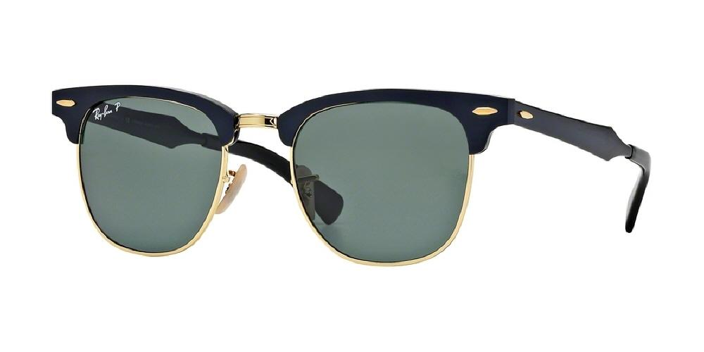 7pm view of Ray-Ban Sunglasses - CLUBMASTER ALUMINUM ICONS RB3507 136/N5 51 GOLD POLARIZED BLACK ARISTA GREEN Men's / Women's Square Full Rim