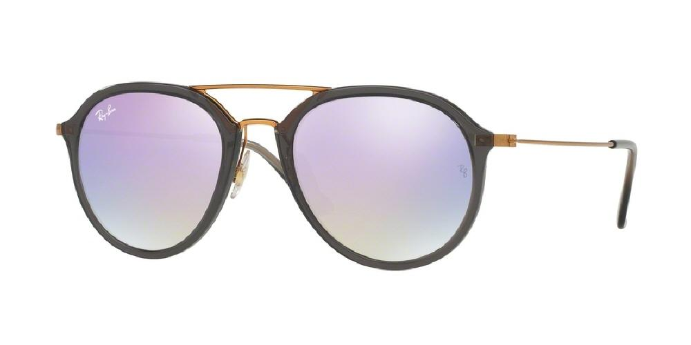 7pm view of Ray-Ban Sunglasses - HIGHSTREET RB4253 62377X 53 MIRROR GRADIENT SHINY GREY LILAC PURPLE FLASH Men's / Women's Square Full Rim