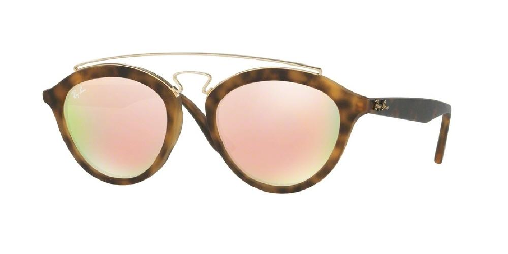 7pm view of Ray-Ban Sunglasses - HIGHSTREET RB4257 60922Y 53 MIRROR MATTE TORTOISE HAVANA LIGHT BROWN PINK Women's Round Full Rim
