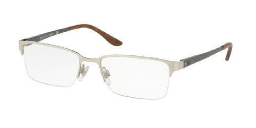 7pm view of Ralph Lauren Eyeglasses - MODERN - AUTOMOTIVE RL5089 9030 54 BRUSHED MATTE SILVER CLEAR DEMO LENS Men's Rectangle Semi Rim