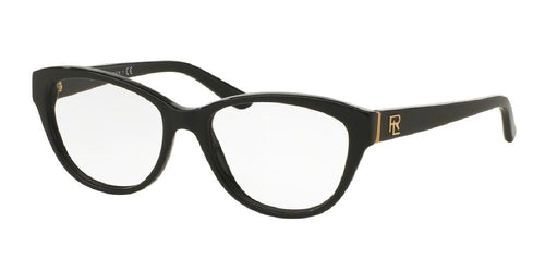 7pm view of Ralph Lauren Eyeglasses - CORE COLLECTION CAT EYE RL6145 5001 52 BLACK CLEAR DEMO LENS Women's Full Rim Butterfly