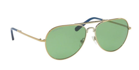 Right Pivot View of Tory Burch 0TY6054 30412 58 GOLD GREEN SOLID Pilot Sunglasses