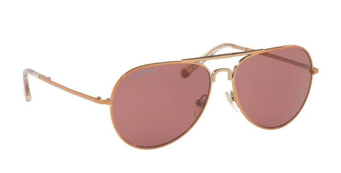 Right Pivot View of Tory Burch 0TY6054 322575 58 ROSE GOLD BURGUNDY RED SOLID Pilot Sunglasses