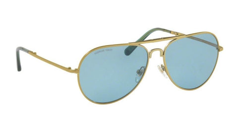 Right Pivot View of Tory Burch 0TY6054 322680 58 BRASS LIGHT BLUE SOLID Pilot Sunglasses
