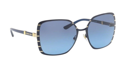 Right Pivot View of Tory Burch 0TY6055 32168F 57 MIDNIGHT NAVY GOLD BLUE GRADIENT Square Sunglasses