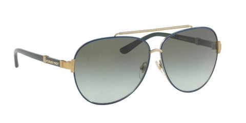 Right Pivot View of Tory Burch 0TY6056 30588E 59 NAVY BLUE GOLD GREEN GRADIENT Pilot Sunglasses