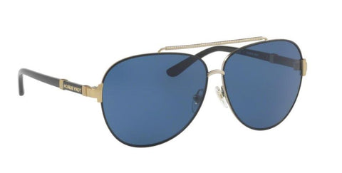 Right Pivot View of Tory Burch 0TY6056 310080 59 BLACK GOLD NAVY SOLID Pilot Sunglasses