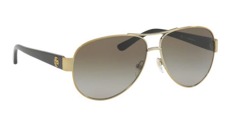 Right Pivot View of Tory Burch 0TY6057 323913 60 GOLD SMOKE GREY GRADIENT Pilot Sunglasses
