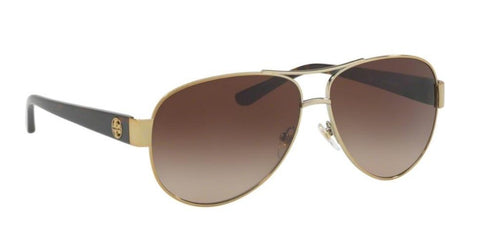 Right Pivot View of Tory Burch 0TY6057 324013 60 GOLD DARK BROWN GRADIENT Pilot Sunglasses