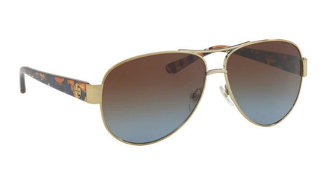 Right Pivot View of Tory Burch 0TY6057 324113 60 GOLD BLUE BROWN GRADIENT Pilot Sunglasses