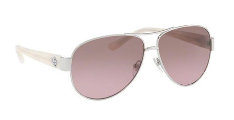 Right Pivot View of Tory Burch 0TY6057 324314 60 SILVER BROWN ROSE GRADIENT Pilot Sunglasses
