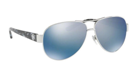 Right Pivot View of Tory Burch 0TY6057 324322 60 SILVER POLARIZED BLUE FLASH MIRROR Pilot Sunglasses