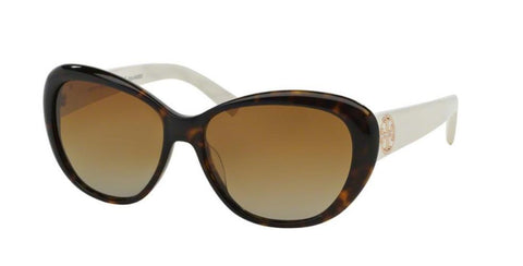 Left Pivot View of Tory Burch 0TY7005 1327T5 56 DARK TORTOISE IVORY WHITE POLARIZED BROWN GRADIENT TORY C03 CLASSIC (TY) Cat Eye Sunglasses