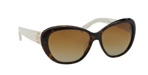 Right Pivot View of Tory Burch 0TY7005 1327T5 56 DARK TORTOISE IVORY WHITE POLARIZED BROWN GRADIENT TORY C03 CLASSIC (TY) Cat Eye Sunglasses