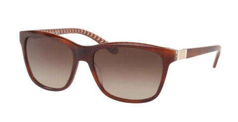 Left Pivot View of Tory Burch 0TY7031 165813 57 TORTOISE ORANGE ZIG ZAG DARK BROWN GRADIENT CLASSIC (TY) Square Sunglasses