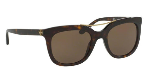 Right Pivot View of Tory Burch 0TY7105 137873 53 DARK TORTOISE BROWN SOLID Square Sunglasses
