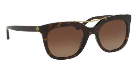 Right Pivot View of Tory Burch 0TY7105 1378T5 53 DARK TORTOISE POLARIZED BROWN GRADIENT Square Sunglasses