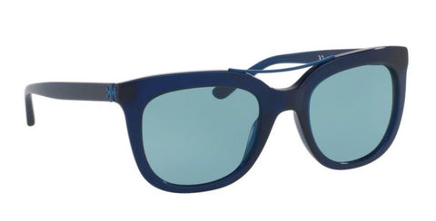 Right Pivot View of Tory Burch 0TY7105 165680 53 NAVY BLUE SOLID LIGHT BLUE Square Sunglasses