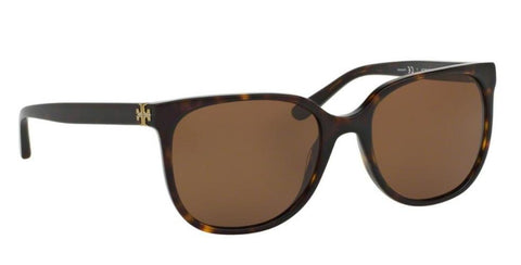 Right Pivot View of Tory Burch 0TY7106 137883 57 DARK TORTOISE POLARIZED SOLID BROWN Square Sunglasses