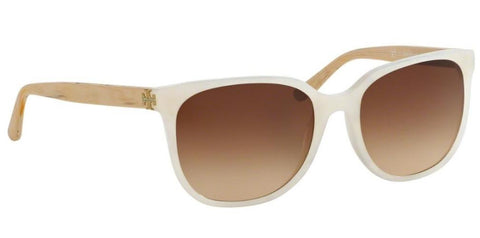 Right Pivot View of Tory Burch 0TY7106 166013 57 IVORY WHITE MOONSTONE BROWN GRADIENT Square Sunglasses