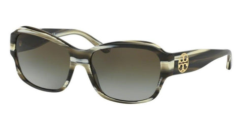 Left Pivot View of Tory Burch 0TY7107 10507Z 57 OLIVE HORN GREEN CLEAR GRADIENT Rectangle Sunglasses