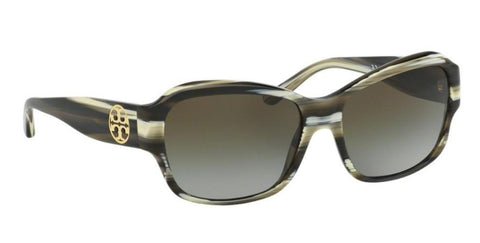 Right Pivot View of Tory Burch 0TY7107 10507Z 57 OLIVE HORN GREEN CLEAR GRADIENT Rectangle Sunglasses