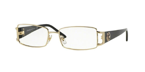 7pm view of Versace Eyeglasses - POP CHIC VE1163M 1252 52 PALE GOLD CRYSTAL CLEAR DEMO LENS Women's Rectangle Full Rim