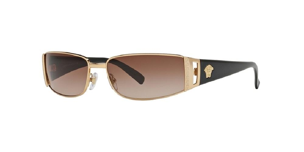 7pm view of Versace Sunglasses - ROCK ICONS VE2021 100213 60 GOLD BROWN GRADIENT Women's Rectangle Full Rim