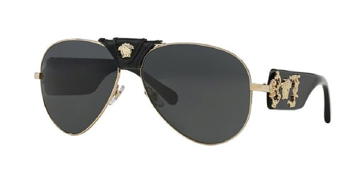 7pm view of Versace Sunglasses - ROCK ICONS AVIATOR VE2150Q 100287 62 GOLD GRAY Men's Full Rim