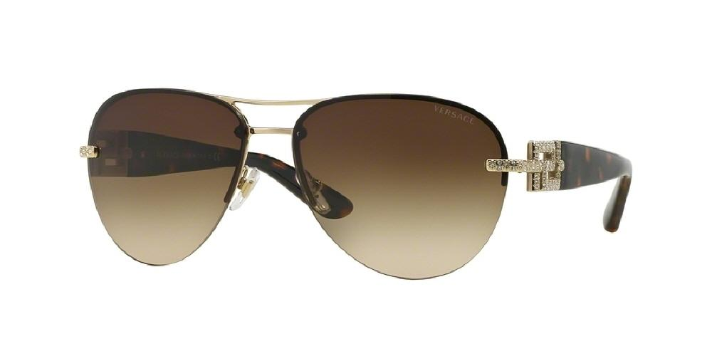 7pm view of Versace Sunglasses - Rock ICONS AVIATOR VE2159B 125213 59 GOLD GRADIENT PALE CRYSTAL BROWN Women's Rimless