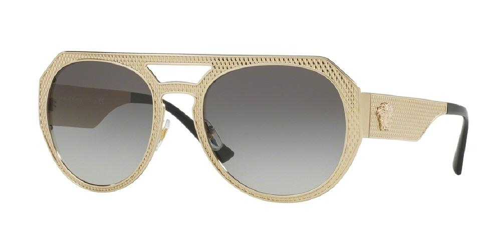 7pm view of Versace Sunglasses - ROCK ICONS ROUND VE2175 125211 60 PALE GOLD GREY GRADIENT Women's Full Rim
