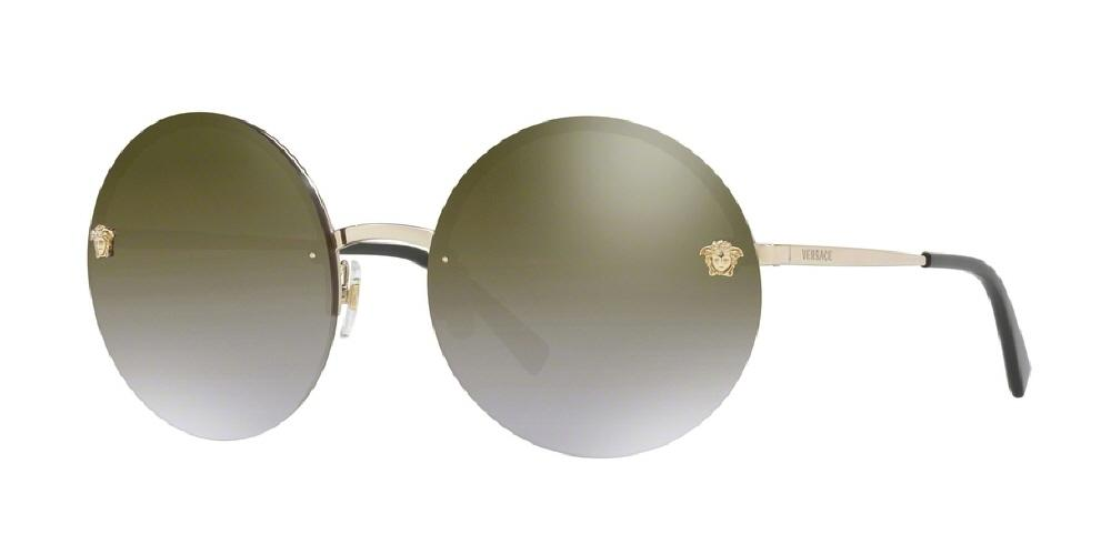 7pm view of Versace Sunglasses - FUN ABOUT TOWN ROUND VE2176 12526U 59 GOLD MIRROR GRADIENT PALE BROWN GLD Women's Rimless