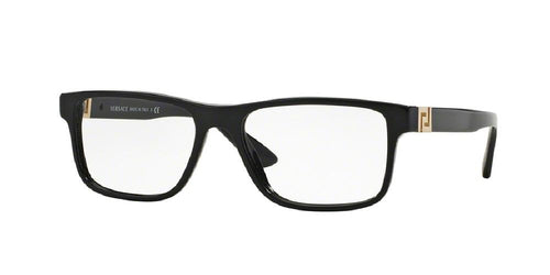 7pm view of Versace Eyeglasses - ROCK ICONS VE3211 GB1 55 BLACK CLEAR DEMO LENS Men's Rectangle Full Rim