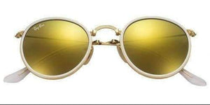 Ray Ban RB 3517 001/93 Round Metal Folding Sunglass Gold , GOLD MIRROR