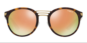 Vogue Round Sunglasses Havana with Rose Gold Mirror Lenses VO5132 W6565R